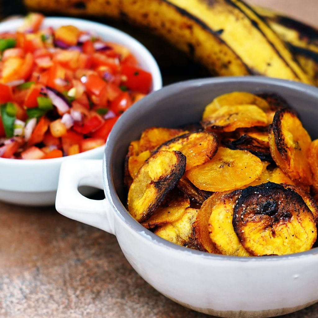 Oven Baked Plantain Chips with Tomato Salsa