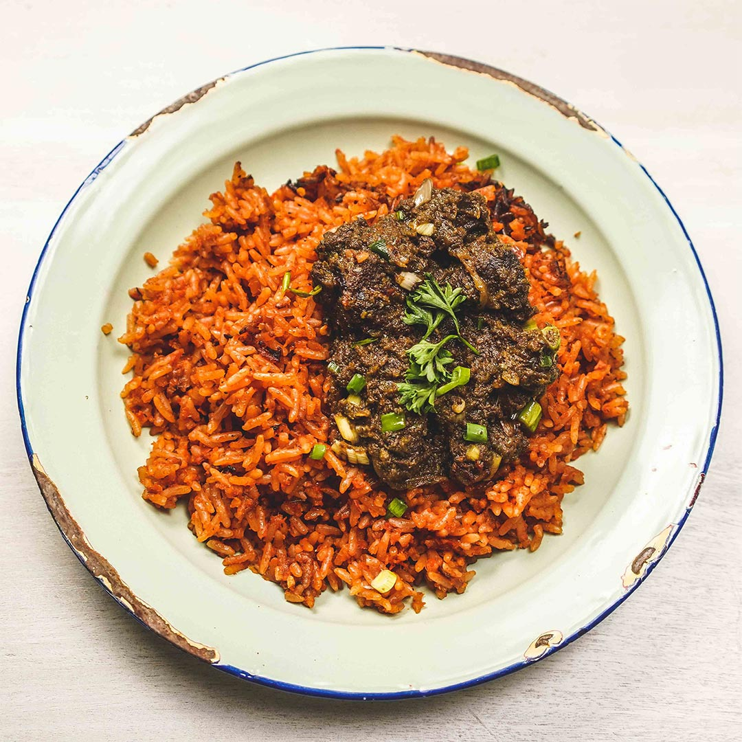 Jollof Rice with Ayamase Style Beef Stew