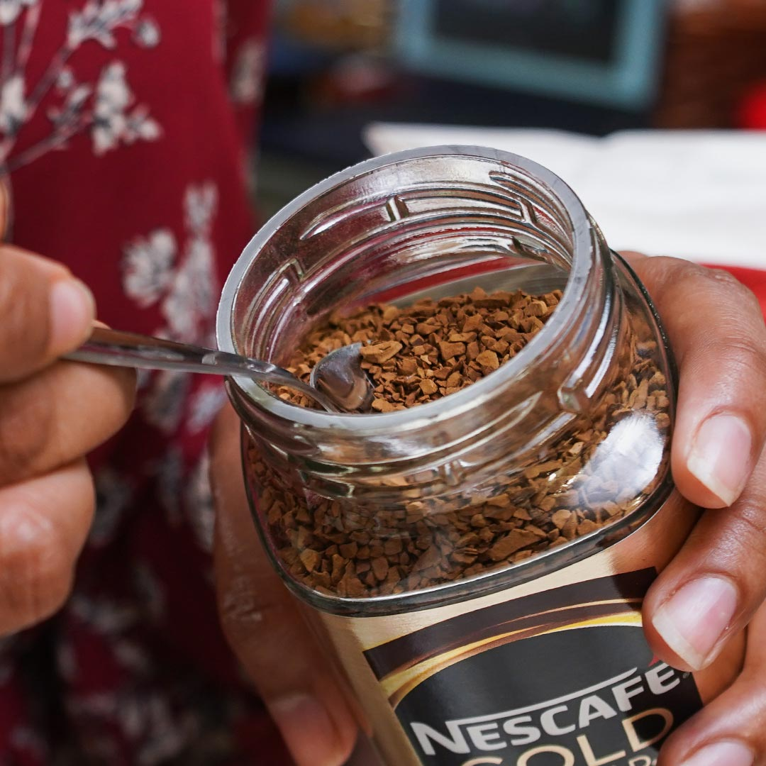 Sprinkle on the Nescafe Gold